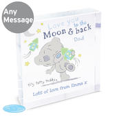 Personalised Tiny Tatty Teddy To the Moon & Back Large Crystal Token - Personalise It!