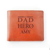 Personalised My Dad is My Hero Tan Leather Wallet - Personalise It!