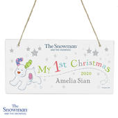 Personalised The Snowman and the Snowdog My 1st Christmas Wooden Sign - Personalise It!