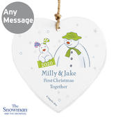 Personalised The Snowman and the Snowdog My 1st Christmas Heart Decoration - Personalise It!