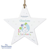Personalised The Snowman and the Snowdog My 1st Christmas Blue Wooden Star Decoration - Personalise It!
