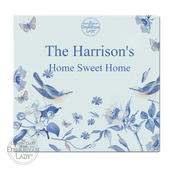 Personalised Country Diary Blue Blossom Glass Chopping Board/Worktop Saver - Personalise It!