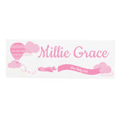 Personalised Up & Away Baby Girl Wooden Block Sign - Personalise It!