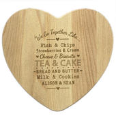 Personalised We Go Together Like... Heart Chopping Board - Personalise It!
