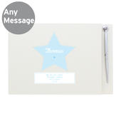 Personalised Stitch & Dot Baby Boy Hardback Guest Book & Pen - Personalise It!