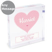 Personalised Stitch & Dot Baby Girl Large Crystal Token - Personalise It!