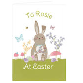 Personalised Easter Meadow Bunny Card Add Any Name - Personalise It!