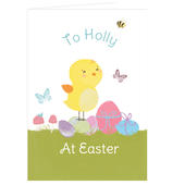 Personalised Easter Meadow Chick Card Add Any Name - Personalise It!