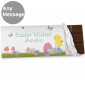 Personalised Easter Meadow Chick Milk Chocolate Bar - Personalise It!