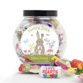 Personalised Easter Meadow Bunny Sweets Jar - Personalise It!