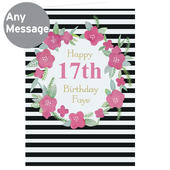 Personalised Floral Stripe Card Add Any Name - Personalise It!