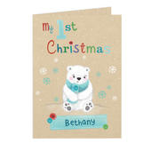Personalised Polar Bear My 1st Christmas Card Add Any Name - Personalise It!