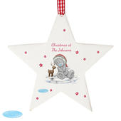 Personalised Me To You Reindeer Wooden Star Decoration - Personalise It!