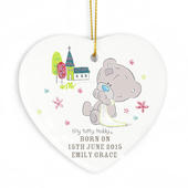 Personalised Tiny Tatty Teddy Christening Ceramic Heart Decoration - Personalise It!