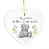 Personalised Me To You Religious Cross Ceramic Heart Decoration - Personalise It!