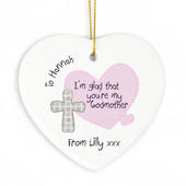 Personalised Godmother Ceramic Heart Decoration - Personalise It!