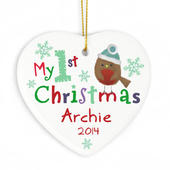 Personalised My 1st Christmas Ceramic Heart - Personalise It!