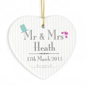 Personalised Decorative Wedding Mr & Mrs Ceramic Heart - Personalise It!
