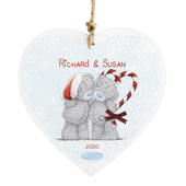 Personalised Me To You Couple Christmas Wooden Heart Decoration - Personalise It!