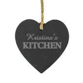 Personalised Kitchen Slate Heart Decoration - Personalise It!