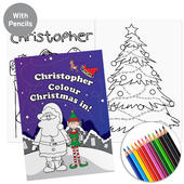 Personalised 'It's Christmas' Elf Colouring Book with Pencil Crayons - Personalise It!