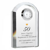 Personalised Golden Anniversary Crystal Clock - Personalise It!