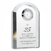 Personalised Silver Anniversary Crystal Clock - Personalise It!