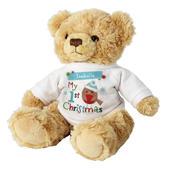 Personalised Felt Stitch Robin 'My 1st Christmas' Teddy Bear - Personalise It!