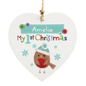 Personalised Felt Stitch Robin 'My 1st Christmas' Wooden Heart Decoration - Personalise It!