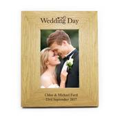 Personalised Wedding Day 4x6 Oak Finish Photo Frame - Personalise It!
