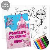 Personalised Princess & Unicorn Colouring Book with Pencil Crayons - Personalise It!