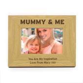 Personalised Oak Finish 6x4 Mummy & Me Photo Frame - Personalise It!