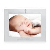 Personalised Silver 7x5 Landscape Cross Photo Frame - Personalise It!