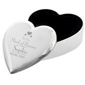 Personalised Decorative Wedding Maid of Honour Heart Trinket Box - Personalise It!