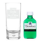 Personalised Gin OClock Hi Ball Bubble Glass & Gin Miniature Set - Personalise It!