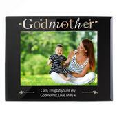 Personalised Godmother Black Glass 7x5 Photo Frame - Personalise It!