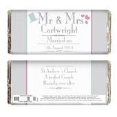 Personalised Decorative Wedding Mr & Mrs Milk Chocolate Bar - Personalise It!