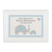 Personalised Blue Baby Elephant White Wooden Keepsake Box - Personalise It!
