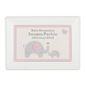 Personalised Pink Baby Elephant White Wooden Keepsake Box - Personalise It!