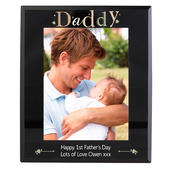 Personalised Daddy Black Glass 5x7 Photo Frame - Personalise It!