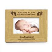 Personalised Oak Finish 6x4 Landscape Baby Footprints Photo Frame - Personalise It!