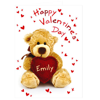 Personalised Valentine's Teddy Heart Card Add Any Name - Personalise It!
