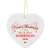 Personalised 'Our First Christmas' Ceramic Heart Decoration - Personalise It!