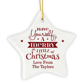 Personalised Merry Little Christmas Ceramic Star Decoration - Personalise It!