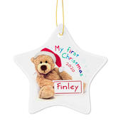 Personalised My First Christmas Teddy Ceramic Star Decoration - Personalise It!