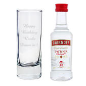 Personalised Shot Glass and Miniature Vodka Set - Text Only - Personalise It!