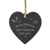 Personalised Merry Christmas Slate Heart Decoration - Personalise It!
