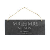 Personalised Mr & Mrs Hanging Slate Plaque - Personalise It!