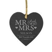 Personalised Mr & Mrs Slate Heart Decoration - Personalise It!