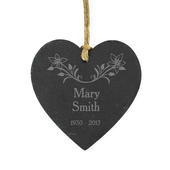 Personalised In Loving Memory Floral Slate Heart Decoration - Personalise It!